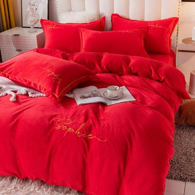 2020新款绣花水晶绒四件套加厚宝宝绒牛奶绒雕花绒四件套 1.8m(6英尺)床 简单爱-大红