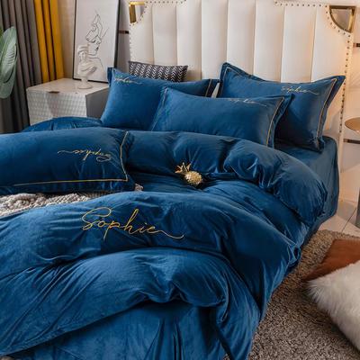 2020新款绣花水晶绒四件套加厚宝宝绒牛奶绒雕花绒四件套 1.8m(6英尺)床 简单爱-藏青