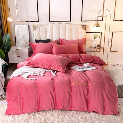 2020新款绣花水晶绒四件套加厚宝宝绒牛奶绒雕花绒四件套 1.8m(6英尺)床 简单爱-豆沙