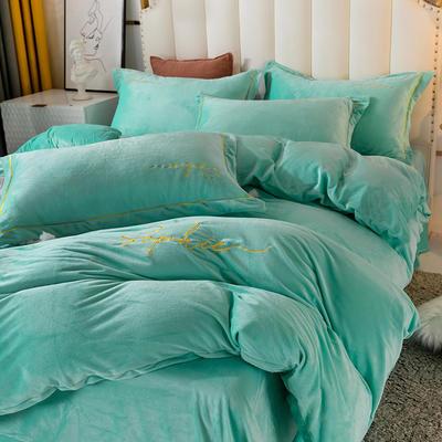2020新款绣花水晶绒四件套加厚宝宝绒牛奶绒雕花绒四件套 1.8m(6英尺)床 简单爱-湖兰