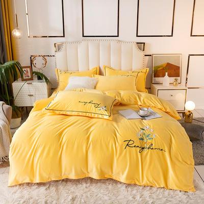2020新款绣花水晶绒四件套加厚宝宝绒牛奶绒雕花绒四件套 1.8m(6英尺)床 向阳花-鹅黄