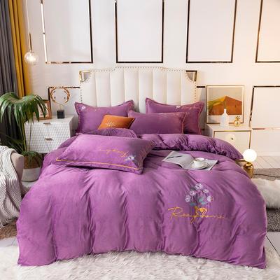 2020新款绣花水晶绒四件套加厚宝宝绒牛奶绒雕花绒四件套 1.8m(6英尺)床 向阳花-紫罗兰