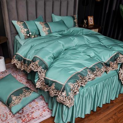 2021新品60s天丝水洗真丝四件套蕾丝刺绣床裙款春夏冰丝四件套 2.0m床单款四件套 贵族-抹茶绿