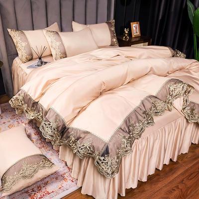 2021新品60s天丝水洗真丝四件套蕾丝刺绣床裙款春夏冰丝四件套 2.0m床单款四件套 贵族-香槟色