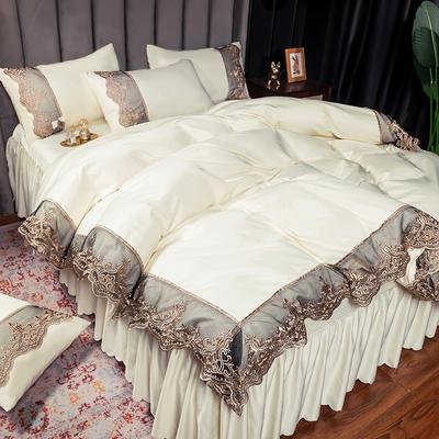 2021新品60s天丝水洗真丝四件套蕾丝刺绣床裙款春夏冰丝四件套 1.5-1.8床单款四件套 贵族-奶白