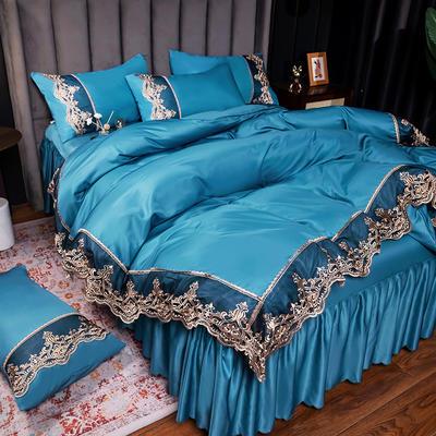 2021新品60s天丝水洗真丝四件套蕾丝刺绣床裙款春夏冰丝四件套 1.5m(5英尺)床 贵族-深海蓝(床裙款)