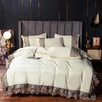 2021新品60s天丝水洗真丝四件套蕾丝刺绣床裙款春夏冰丝四件套 1.5m(5英尺)床 贵族-奶白(床单款)