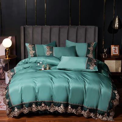 2021新品60s天丝水洗真丝四件套蕾丝刺绣床裙款春夏冰丝四件套 1.5m(5英尺)床 贵族-抹茶绿(床单款)