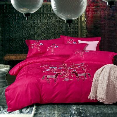 提花长绒棉四件套系列、提花四件套、长绒棉 标准(1.5m-1.8m床) 漫步华沙(玫红)