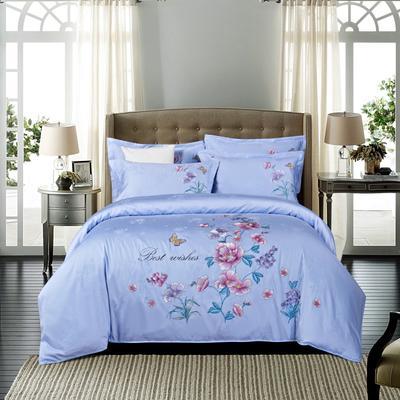 提花长绒棉四件套系列、提花四件套、长绒棉 标准(1.5m-1.8m床) 梦里花开-白日兰