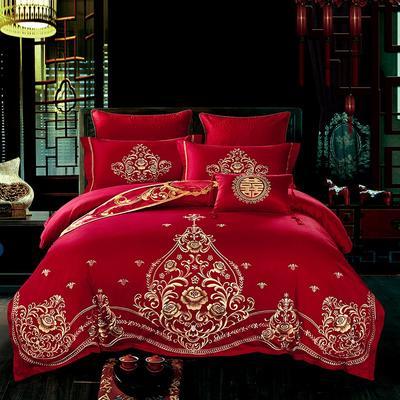 2018新款-婚庆套件60支全棉贡棉 床单换床裙加大(2.0m床) 配小抱枕