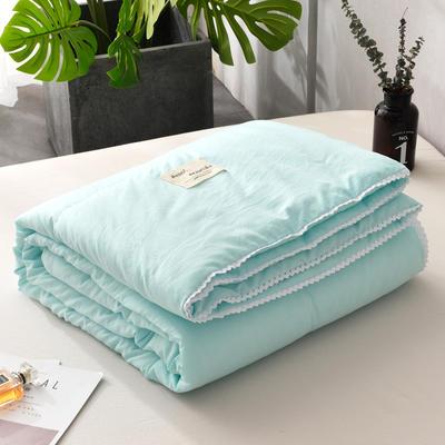 2019新款-简约纯色水洗棉夏被 夏凉被 空调被 被芯 夏被150*200cm2.0斤 湖蓝