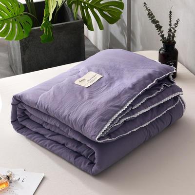 2019新款-简约纯色水洗棉夏被 夏凉被 空调被 被芯 夏被150*200cm2.0斤 灰紫
