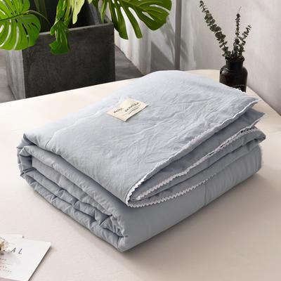 2019新款-简约纯色水洗棉夏被 夏凉被 空调被 被芯 夏被150*200cm2.0斤 兰灰