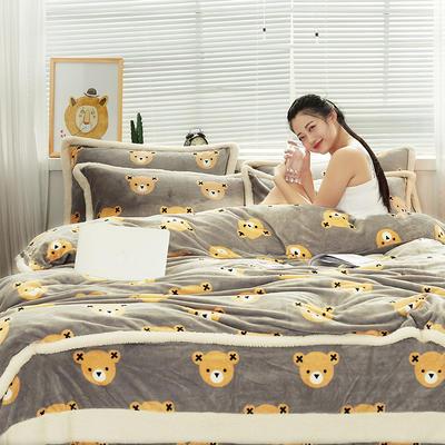 大版法莱绒四件套贝贝绒保暖法兰绒四件套 标准(1.5m-1.8m床) 4仲尼熊-咖