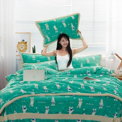 大版法莱绒四件套贝贝绒保暖法兰绒四件套 标准(1.5m-1.8m床) 8可比熊-绿