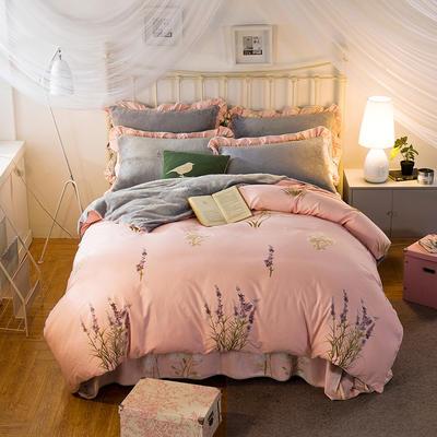 2019款 韩版法莱绒四件套加厚法兰绒套件 1.8m(6英尺)床四件套 芳熏之恋