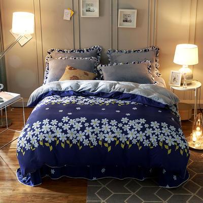 2018新款-韩版法莱绒四件套加厚法兰绒套件 1.5m(5英尺)床四件套 花香迷人