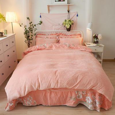 2018新款-韩版法莱绒四件套加厚法兰绒套件 1.5m(5英尺)床四件套 迷情香颂
