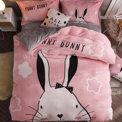 2018新款-7斤大版法莱绒卡通四套件加厚法兰绒套件 1.5m(5英尺)床 爱兔