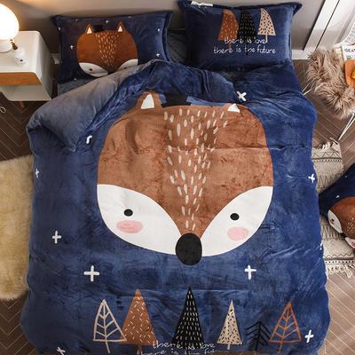 2018新款-7斤大版法莱绒卡通四套件加厚法兰绒套件 1.5m(5英尺)床 狐狸