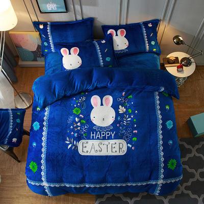 2019大版法莱绒卡通四套件加厚法兰绒套件 1.5m(5英尺)床 蓝小兔