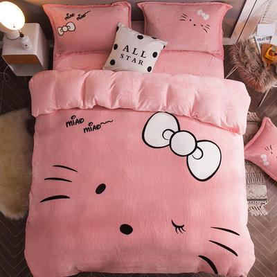 2018新款-7斤大版法莱绒卡通四套件加厚法兰绒套件 1.5m(5英尺)床 萌猫