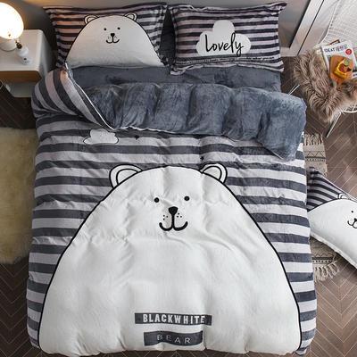 2019大版法莱绒卡通四套件加厚法兰绒套件 1.5m(5英尺)床 胖熊