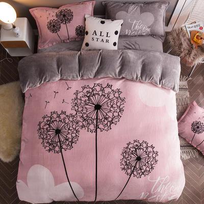 2019大版法莱绒卡通四套件加厚法兰绒套件 1.5m(5英尺)床 蒲公英的梦想