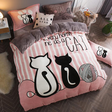 2018新款-7斤大版法莱绒卡通四套件加厚法兰绒套件 1.5m(5英尺)床 情侣猫