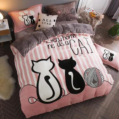 2019大版法莱绒卡通四套件加厚法兰绒套件 1.5m(5英尺)床 情侣猫