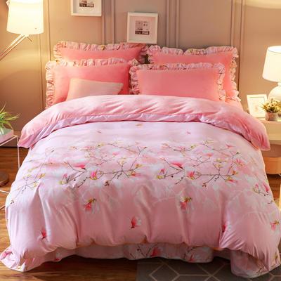 2019款 韩版法莱绒四件套加厚法兰绒套件 1.2m(4英尺)床三件套 花意满枝粉