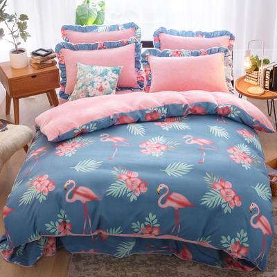 2018新款-韩版法莱绒四件套加厚法兰绒套件 1.2m(4英尺)床三件套 火烈鸟