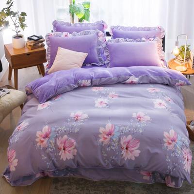 2019款 韩版法莱绒四件套加厚法兰绒套件 1.5m(5英尺)床四件套 澜芝月语