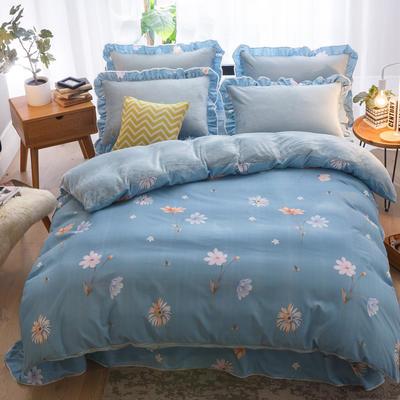 2019款 韩版法莱绒四件套加厚法兰绒套件 1.8m(6英尺)床四件套 满园芳华