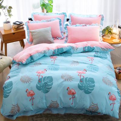 2018新款-韩版法莱绒四件套加厚法兰绒套件 1.5m(5英尺)床四件套 森林舞会蓝