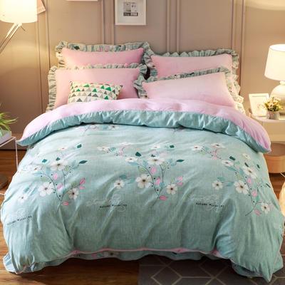 2018新款-韩版法莱绒四件套加厚法兰绒套件 1.5m(5英尺)床四件套 似水柔情