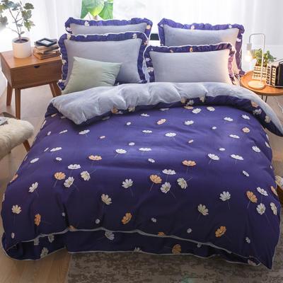 2019款 韩版法莱绒四件套加厚法兰绒套件 1.8m(6英尺)床四件套 小野菊