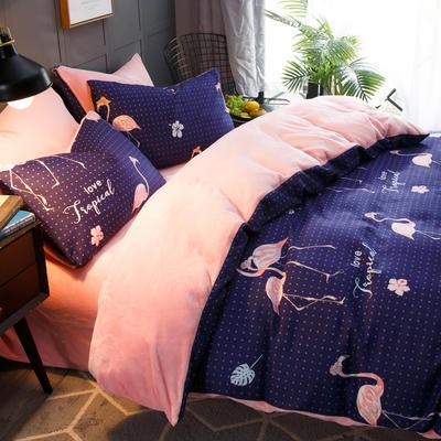 2018新款-时尚法莱绒四件套加厚法兰绒四件套 床单款1.5m(5英尺)床 红鹳