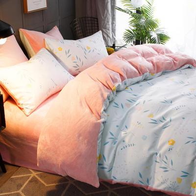2019-时尚法莱绒四件套加厚法兰绒四件套 床单款1.5m(5英尺)床 花叶满堂