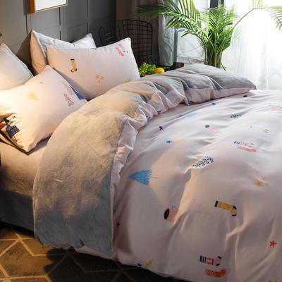 2018新款-时尚法莱绒四件套加厚法兰绒四件套 床单款1.8m(6英尺)床 浪漫无邪