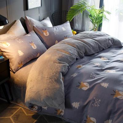 2018新款-时尚法莱绒四件套加厚法兰绒四件套 床单款1.2m(4英尺)床 麋鹿