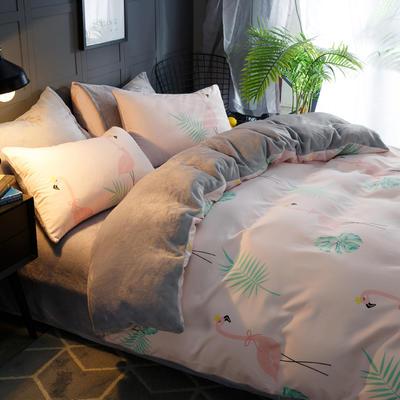 2018新款-时尚法莱绒四件套加厚法兰绒四件套 床单款1.5m(5英尺)床 鸟语花香