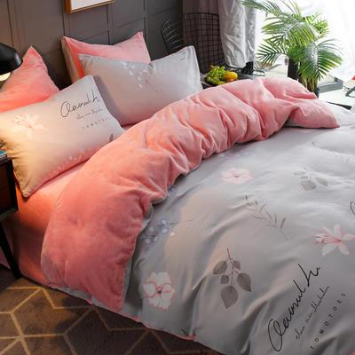 2019-时尚法莱绒四件套加厚法兰绒四件套 床单款1.8m(6英尺)床 欧若拉