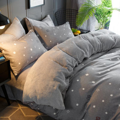 2019-时尚法莱绒四件套加厚法兰绒四件套 床单款1.8m(6英尺)床 绅士