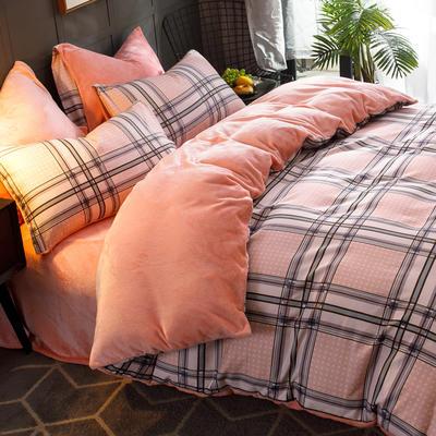 2019-时尚法莱绒四件套加厚法兰绒四件套 床单款1.8m(6英尺)床 小情歌粉