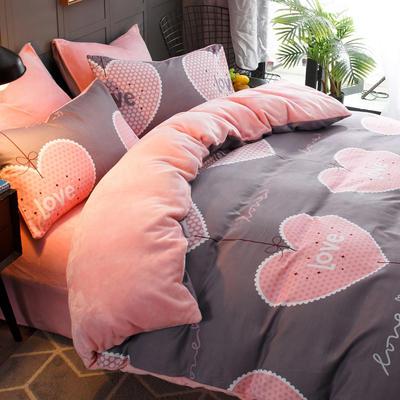 2018新款-时尚法莱绒四件套加厚法兰绒四件套 床单款1.8m(6英尺)床 心心相惜