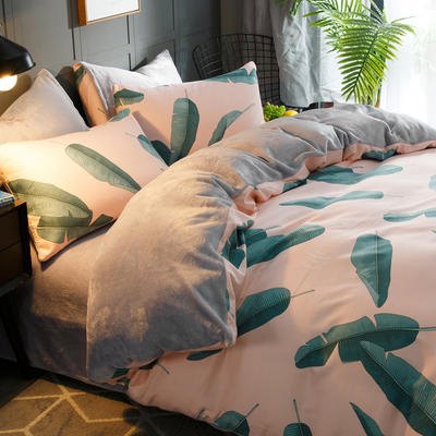 2019-时尚法莱绒四件套加厚法兰绒四件套 床单款1.8m(6英尺)床 叶绿