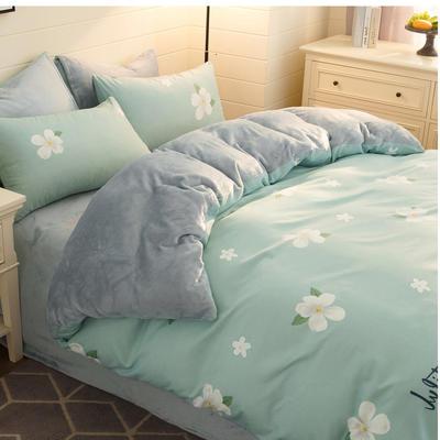 2020-时尚法莱绒四件套加厚法兰绒四件套 床单款1.5m(5英尺)床 美丽霜花蓝