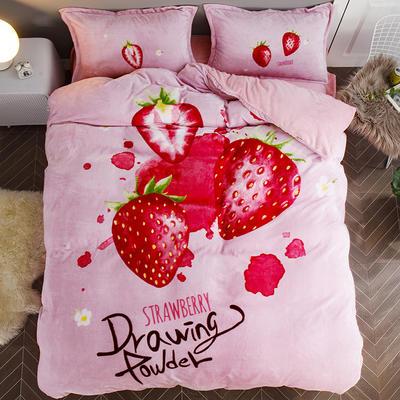 2019大版法莱绒卡通四套件加厚法兰绒套件 1.5床笠款 草莓甜心
